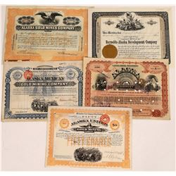Five Different Alaska Mining Stock Certificates  (109291)