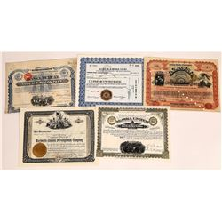 Five Different Alaska Mining Stock Certificates  (109293)