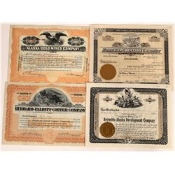 Four Different Alaska Mining Stock Certificates  (109292)