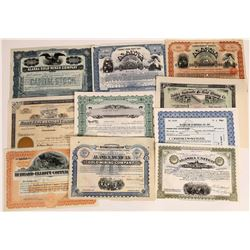 Ten Different Alaska Mining Stock Certificates  (109288)