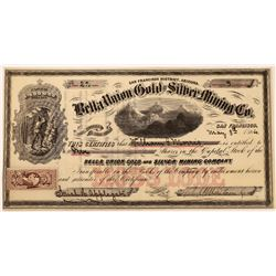 Belle Union Gold and Silver Mining Company Stock, Arizona -Very Early  (123654)