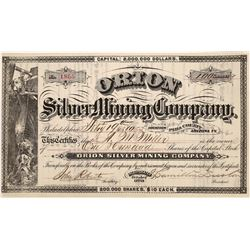 Orion Silver Mining Co. Stock – Pima County, Arizona Territory   (123671)