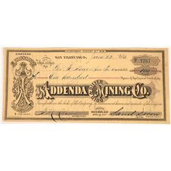 Addenda Silver & Gold Mining Company Stock, Bodie, California  (123542)