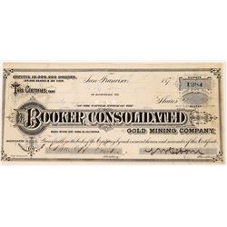 Booker Consolidated Mining Stock- with G. T. Brown Lithograph (early African American litho.)