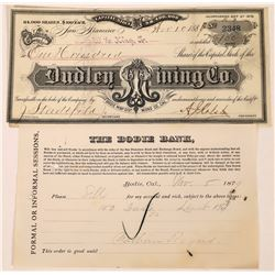 Dudley Mining Company Stock and Bodie Bank Receipt  (123525)
