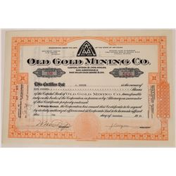 Old Gold Mining Co. Stock Certificate, Bodie, California  (109249)