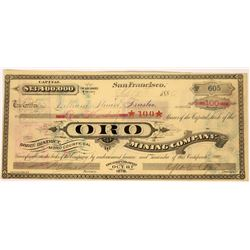 Oro Mining Company Stock (located on Silver Hill, Mono County)  (123537)