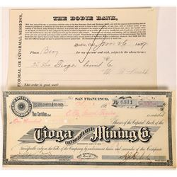 Tioga Consolidated Mining Company Stock and Stock Request , Bodie (123562)