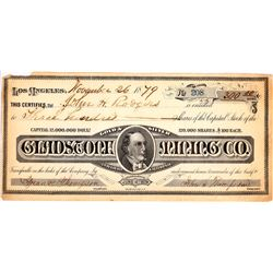 Gladstone Mining Co. Stock, 1879, Britton & Rey Litho Inyo County and Greenwater.  (127093)