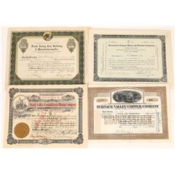 Four Different Death Valley Mining Stock Certificates  (125915)