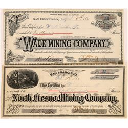 Two Fresno County, California Mining Stock Certificates  (109130)