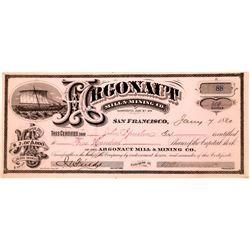Argonaut Mill & Mining Co. Stock – Georgetown, Eldorado County, California   (123666)