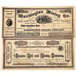 Grass Valley Gold Rush Area Mining Stocks: Empire and Washington  (123664)