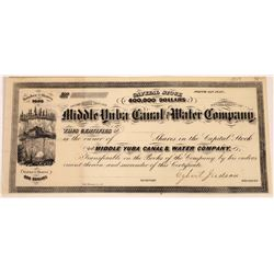 Middle Yuba Canal & Water Co. Stock Signed by Egbert Judson (Dynamite)  (109305)