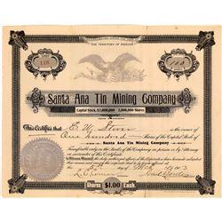 Santa Ana Tin Mining Company Stock Certificate  (109255)