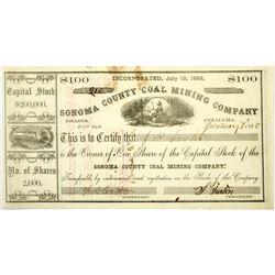 Sonoma County Coal Mining Company Stock, Petaluma  (118720)