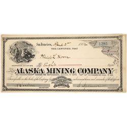 Alaska Mining Company Stock Certificate  (109329)