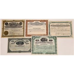 Five Southern California Desert Mining Stock Certificates  (109296)
