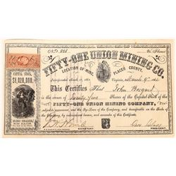 Fifty-One Union Mining Co. Stock, Virginia, Placer County, California  (123658)
