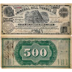 Mineral Hill Tunnel Co. Stock Certificate with imitation $500 bill on reverse - Breckenridge