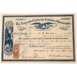 American Exploring Company of Philadelphia Stock Certificate - Buckskin Joe, Park County, Colorado
