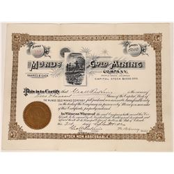 Mundo Gold Mining Company Stock Certificate - Early Cripple Creek- Rare   (123585)