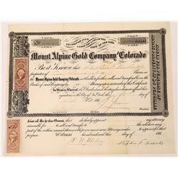 Mount Alpine Gold Company Stock Certificate - Griffith District, Georgetown, Colorado Territory   (1