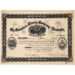 Dauntless Mining Co. of Leadville, Stock Certificate, 1881   (123588)