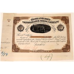 Highland Chief Cons. Mining Co. Stock Certificate, Printer's Proof   (123595)