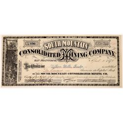 South Mountain Cons. Mining Co. Stock Certificate (Extra Rare Idaho G. T. Brown Lithograph)  (123495