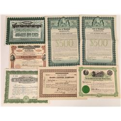 Idaho Mining Stock Certificate Collection (Plus 2 Bonds)  (113807)