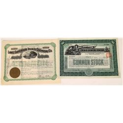 Lake Superior Iron & Chemical Co. Stock Certificate Pair  (126044)