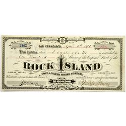 Rock Island Gold & Silver Mining Co Stock, Gold Hill, NV 1876  (118718)