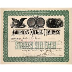 American Nickel Company Stock Certificate  (107971)