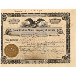 Great Western Mines Company of Nevada Stock Certificate  (113800)