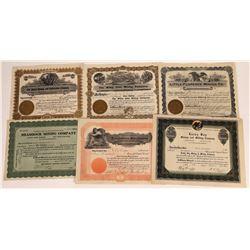 Six Different Nevada Mining Stock Certificates  (109250)