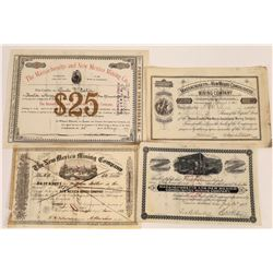 Four Different New Mexico Mining Stock Certificates  (113783)