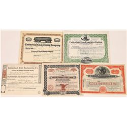 Five Different US Mining Stock Certificates  (126035)