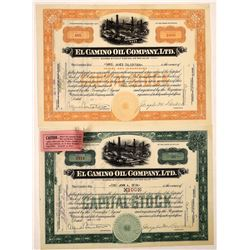 El Camino Oil Company, Ltd. Stock Certificate Pair  (126059)