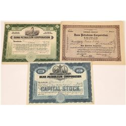 Dunn Petroleum Corporation Stock Certificate Trio  (126039)