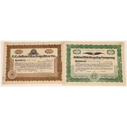 C.C. Julian Related Oil Stock Certificates incl. Autograph  (107983)