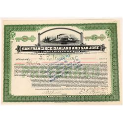 San Francisco, Oakland & San Jose Consolidated Railway Stock Certificate  (107960)