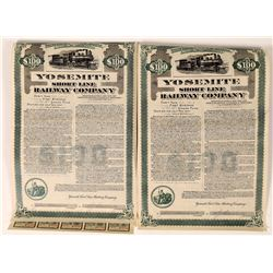Two Yosemite Short Line Railway Company Bonds  (123449)