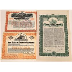 Three Different California Railroad Stocks/Bonds  (107999)