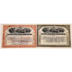 Cripple Creek Central Railway Co. Stock Certificate Pair  (109312)