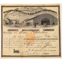 Boston & Worcester Rail-Road Corp. Stock Certificate w/ Imprinted Revenue  (107963)