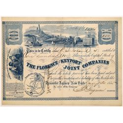 Florence and Keyport Joint Companies Stock Certificate  (126009)