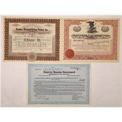 US Related Russia Stock Certificates & Bond  (126221)