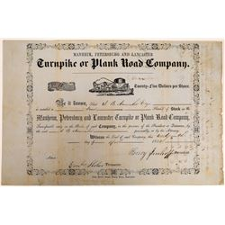 Manheim, Petersburg and Lancaster Turnpike or Plank Road Co.Stock 1852  (126782)
