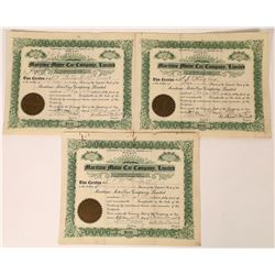 Maritime Motor Car Company, Limited Stock Certificates (3)  (107966)